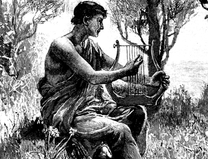 Musician and harp